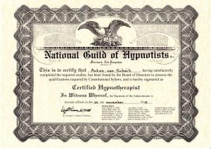 certificaat hypnotherapeut Ton van Schaik